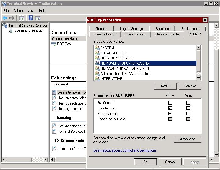 терминальный доступ пользователя